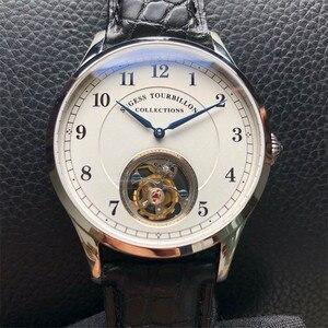 Image 1 - Top Merk Luxe Tourbillon Mens Mechanische Horloges Mode Krokodil Lederen Mannen Tourbillon Horloge 50M Waterdicht 1963