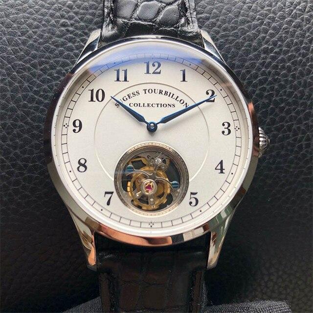 Top Merk Luxe Tourbillon Mens Mechanische Horloges Mode Krokodil Lederen Mannen Tourbillon Horloge 50M Waterdicht 1963