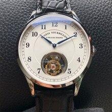 Top marka luksusowe Tourbillon męskie zegarki mechaniczne moda krokodyl prawdziwej skóry mężczyzn zegarek Tourbillon 50m wodoodporny 1963