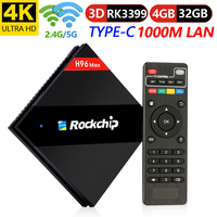 H96 MAX RK3399 4 ГБ Оперативная память 32 ГБ Встроенная память Android 7,1 ТВ BOX 2,4 г/5,0 г Wi Fi H.265 4 К Smart ТВ VP9 Bluetooth 4,1 USB3.0 Тип C Media Player