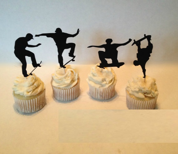 Skateboarding Silhouette Cupcake Toppers Sports Party Picks Baby
