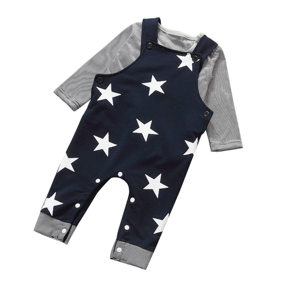 Buy Cheap Baby Boys Pants Sets Stripe T-shirt Top Bib Pants Overall Outfits 2018 Hot-selling Tiled Star Bib Clothing Sets