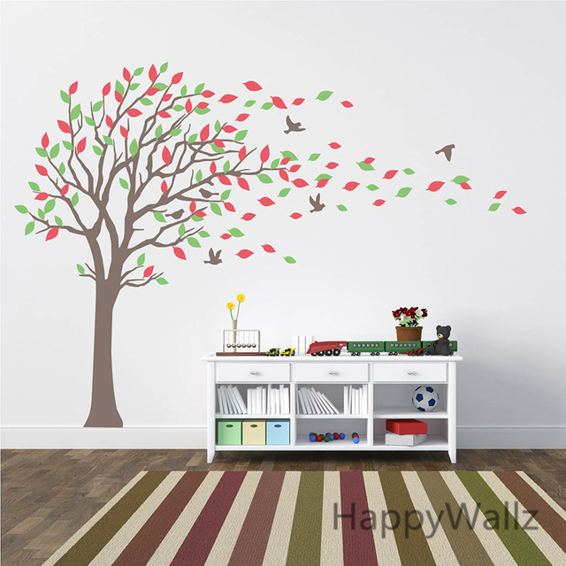 Large Tree Wall Stickers Baby Nursery Tree Wall Decals Leaves Birds Family  Tree Wallpaper Kids Room