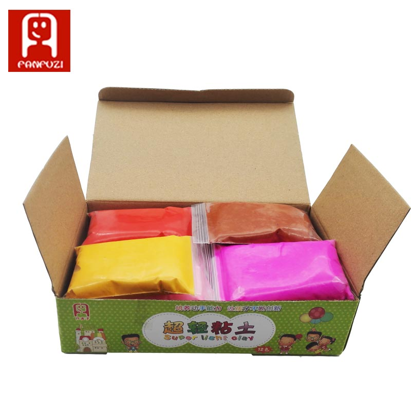 12 colors *18g/set Colored super light clay Cartons pack silly putty Childrens educational toys play dough