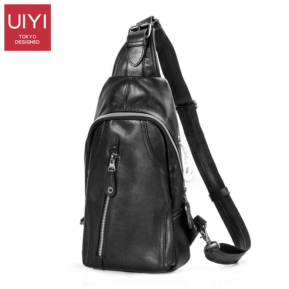 UIYI Men Chest bag Genuine Leather Crossbody Bags Men Casual Messenger Bag Small Brand Design Male Shoulder Bag Chest Waist Pack joyir genuine leather chest bag for men crossbody chest pack solid flap leather bags mens shoulder bags small messenger bag new