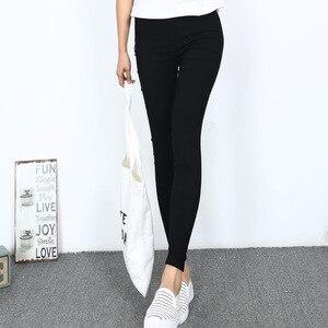 Image 3 - Mallas de tela tejidas para mujer, pantalones elásticos de cintura alta, ajustados, de Fitness, Color negro, D132, 2016