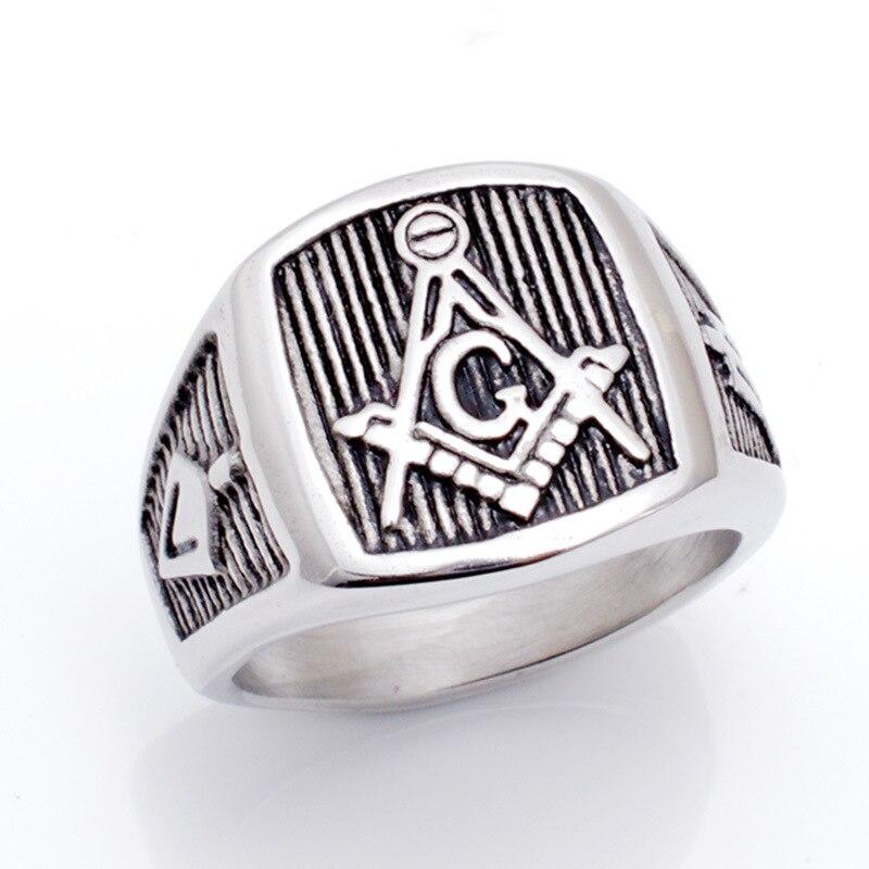 Литье Titanium стали масонские кольцо личности панк поп восстановление древних способов Для мужчин кольцо