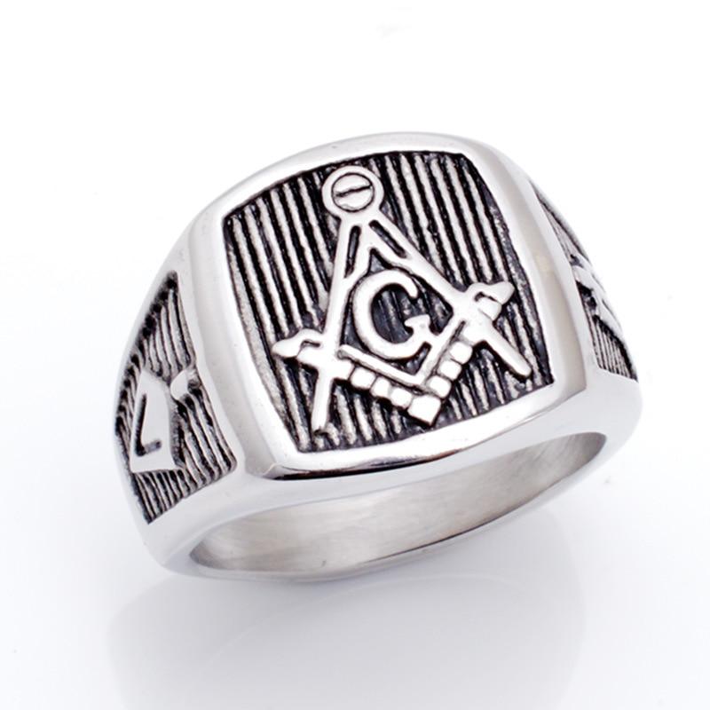 Casting titanium steel masonic ring personality punk pop restoring ancient ways Mens ring