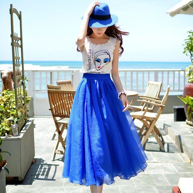 Original 2017 Brand Long Skirt Faldas Lolita Style Summer Plus Size Fashion Vintage Casual Women Mesh Maxi Skirts