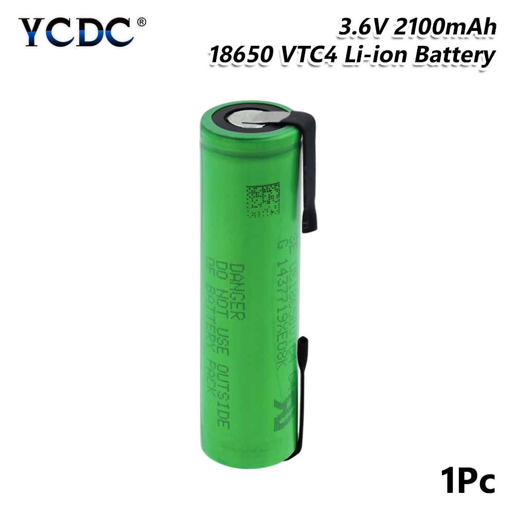 High Drain 30A US18650VTC4 18650 3.6V 2100mAh Lithium Rechargeable Battery Welding Nickel Sheet batteries For Torch Vape