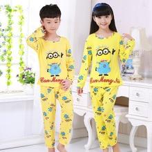 Spring&autumn New Kids long sleeved Pajamas Sets Girls Pajama boys Sleepwear children Home Clothing Cartoon Baby nightgown 3-13T