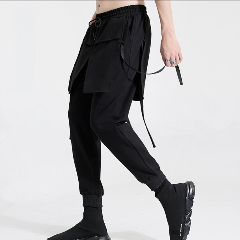 Male Singer Clothing Pants Men's 27-44 Fake Original Skirts Slim-Feet Two-Piece Stereo
