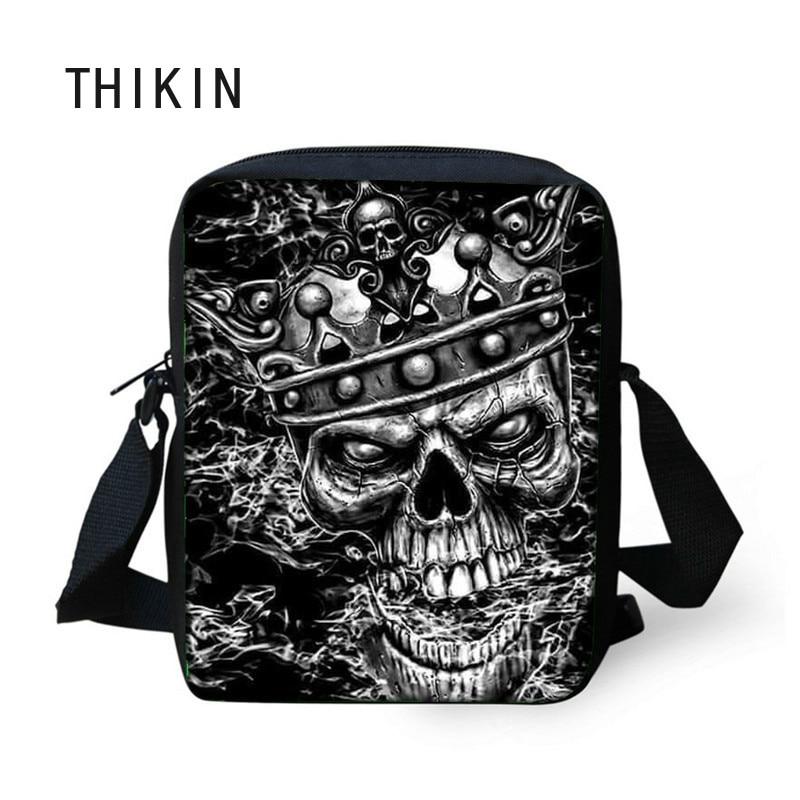 THIKIN Messenger-Bags Crossbody-Bag Skull Shoulder Black Mini Male Teenagers Print Men