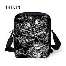 THIKIN Black Small Skull Messenger Bags for Men Male Cool Skull Print Crossbody Bag Kids Boys Mini Shoulder Teenagers Cross Body