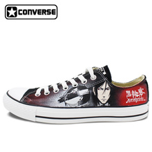Low Top Women Men Converse All Star Anime Black Butler Design Hand Painted Canvas Shoes Man Woman Sneakers Gifts