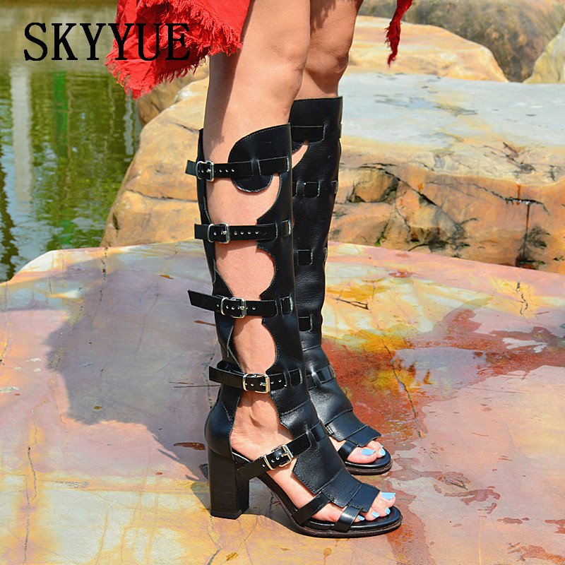 2018 New Genuine Leather Gladiator Knee HIgh Women Summer Sandal Boots Sexy Open To Buckle Strap Women Thick Heel Sandals fashion sexy women summer sandals gladiator black red solid sandals buckle strap nubuck leather thick heel sandals us size 5 9