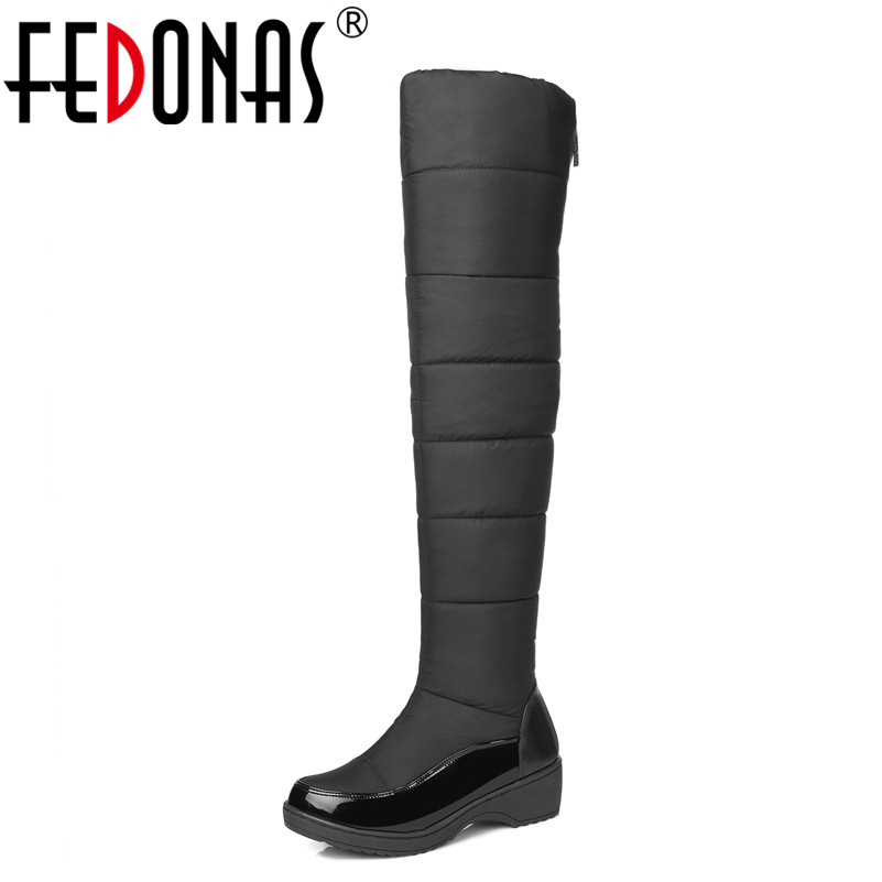 FEDONAS High Quality Fashion Winter Keep Warm Plush Snow Boots Down Over The Knee Boots Women Footwear Thigh High Shoes Woman 2017 winter cow suede slim boots sexy over the knee high women snow boots women s fashion winter thigh high boots shoes woman