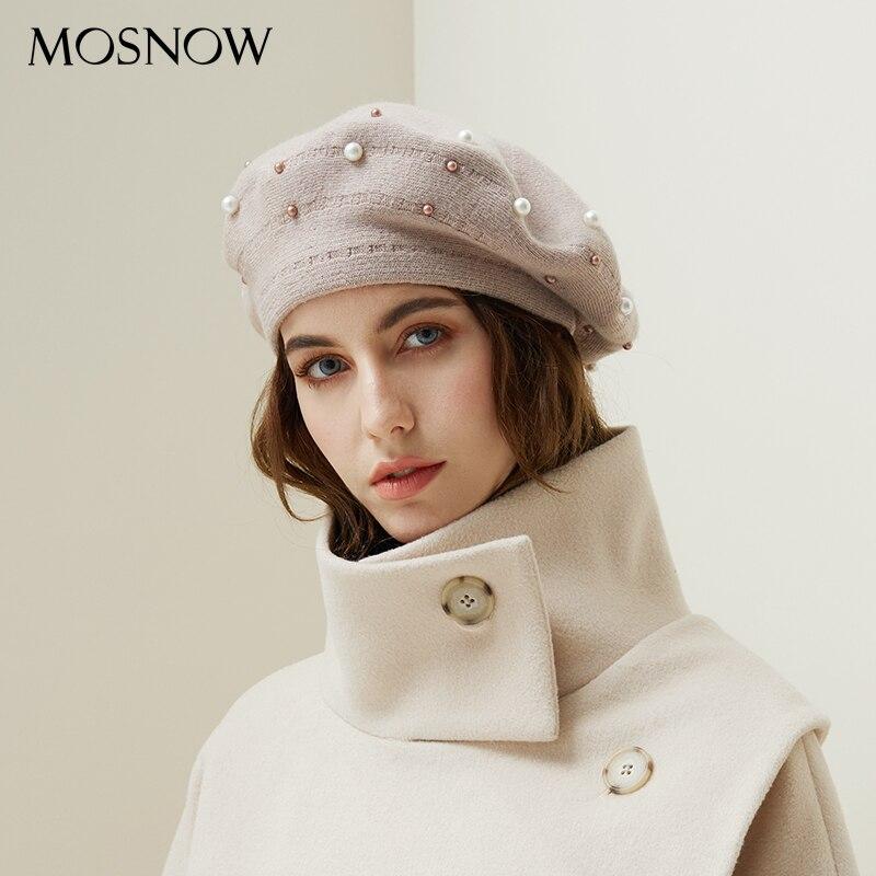 Women Berets Pearl Decoration Hat Female Rabbit Hair knitted Caps 2018 New Brand Winter Beret Lady Painter Bonnet Hats Wholesale