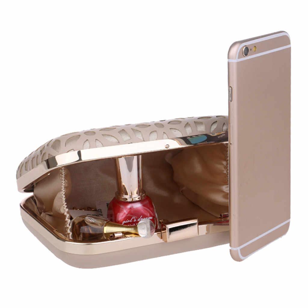 Gaya Berongga Pu Malam Tas dengan Rantai Tas Bahu Hari Cengkeraman Mewah Malam Tas Hitam/Pesta Emas Ponsel dompet Mini Tas