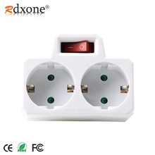 Rdxone 16A European Type Conversion Plug 1 TO 2 Way EU Standard Power Adapter Socket with Switch