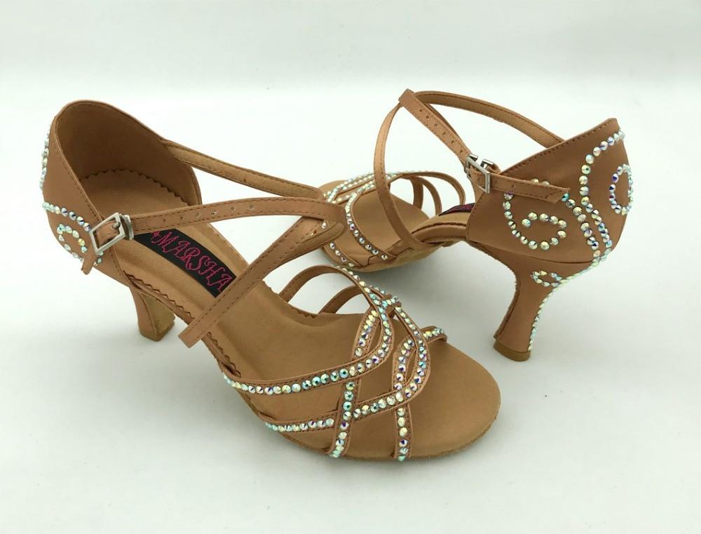 Fashional professional womens latin dance shoes ballroom salsa dancing shoes tango shoes 6228DTN R with Rhinestones