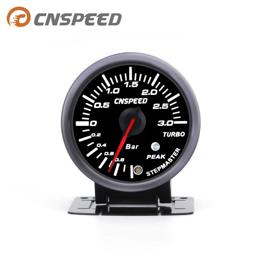 Cnspeed 3.0 Bar 60 Mm 2.5 ''Turbo Boost Gauge Putih & Amber Dual LED Display dengan Puncak Peringatan YC101410