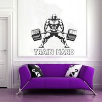 Gym Sticker Fitness Barbell Muscle Crossfit Decal Body building Posters Vinyl Wall Decals Parede Decor Mural Gym Sticker 1125