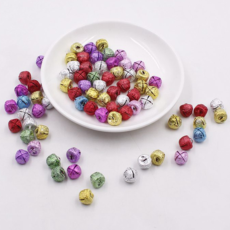300Pcs /lot 12mm Colorful Small Jingle Bells Cross Loose Beads Festival Party Home Christmas Decorations/DIY Accessories