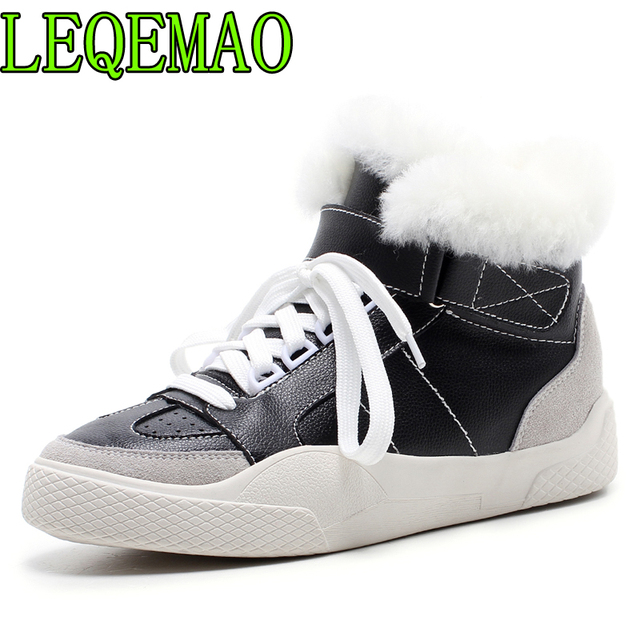 2018 Winter New Women Shoes Fashion Genuine Leather Wool Warm Snow Boots Casual Lace-Up Round Toe Non-Slip Ankle Boots