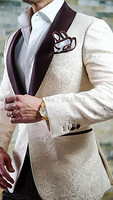 New Arrival Groomsmen Ivory Groom Tuxedos Shawl Brown Lapel Men Suits Wedding Prom Best Man Blazer