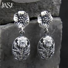 JINSE 2017 New S925 Antique Silver Color Hollow Drop Earring for Women Boho Retro Vintage Flower Dangle 10.5mm*17.5mm