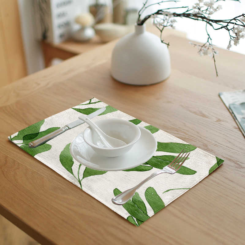 Dropshipping proveedores impresión Simple hoja de loto hojas letras verdes servilleta mesa de té y café decoración Western mantel almohadilla