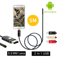 2017 New Endoscope Mini Camera 5 5mm 2IN1 USB Endoscope Snake Tube Pipe Waterproof USB Endoskop