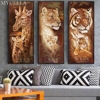 MYCELLA Animal Diamond Embroidery 5D DIY Diamond Painting Christmas Tigers And Giraffes Cross Stitch Full Rhinestone