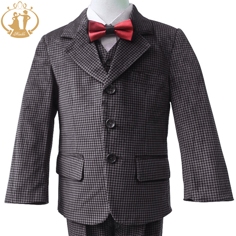 Nimble Boys Formal Suit Winter Corduroy Plaid Brown Kids Cloth New Christmas Costumes 2-13Y - Dongguan Jiahao Apparel & Fashion Co., Ltd store