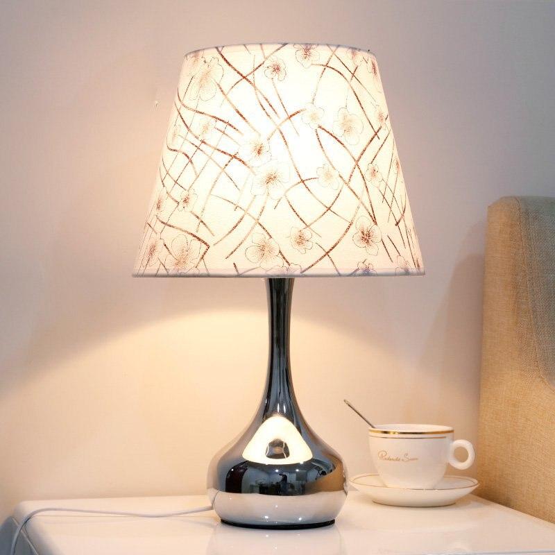 Modern European Bedroom Table Lights Polished Chrome Metal Base bedbeside table light Living Room Romantic Desk Lights 4 Models