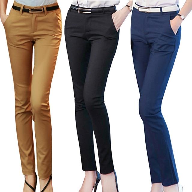 Kadın kalem pantolon 2019 sonbahar yüksek bel bayanlar ofis pantolon rahat kadın ince Bodycon pantolon elastik Pantalones Mujer