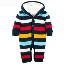 New Baby Rompers Winter Thicken Hooded Warm Baby Boy Girl Clothes Cotton Striped Unisex Children Jumpsuit Hot XL30