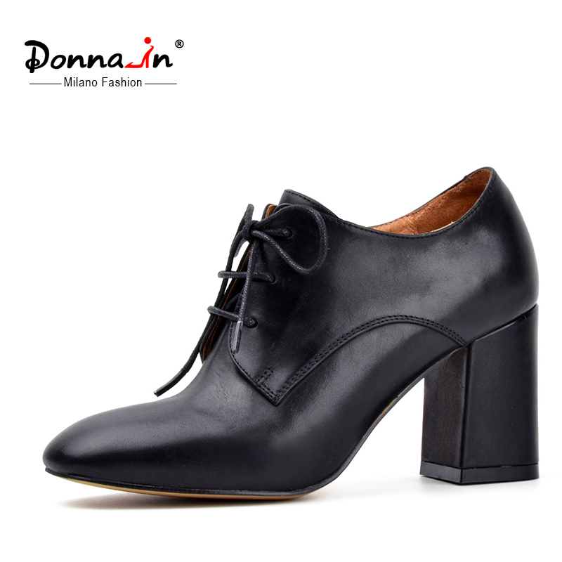 ФОТО Donna-in lace-up leather shoes square toe thick heel woman shoes classic style real leather ladies shoes