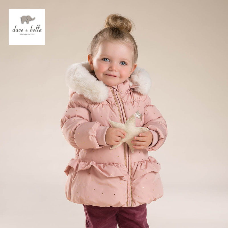 DB4029 dave bella baby girls cute baby pink  hooded padded coat outerwear down jacket db4088 dave bella baby girls padded clothing hooded padded coat outerwear kids down jacket