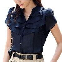 Summer Butterfly Sleeve Ruffled Collar Women V Neck Chiffon Shirts Size S 2XL Korean Fashion Lady