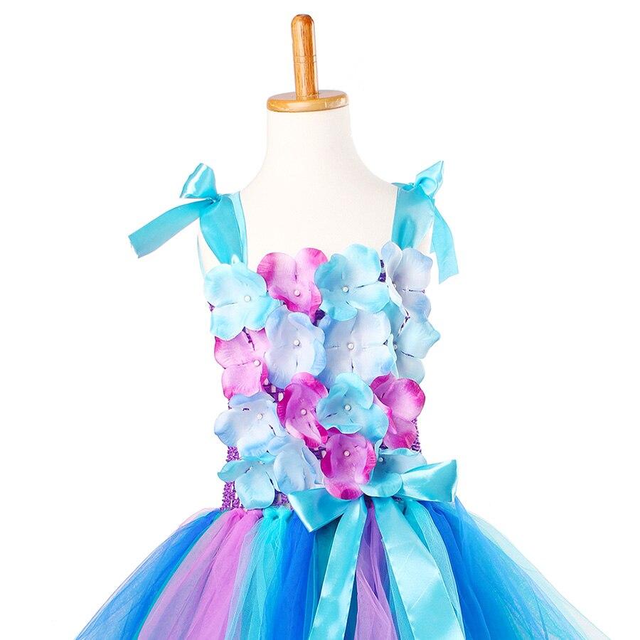 Girls Princess Peacock Flower Tutu Dress Children Handmade Purple and Blue Tulle (13)