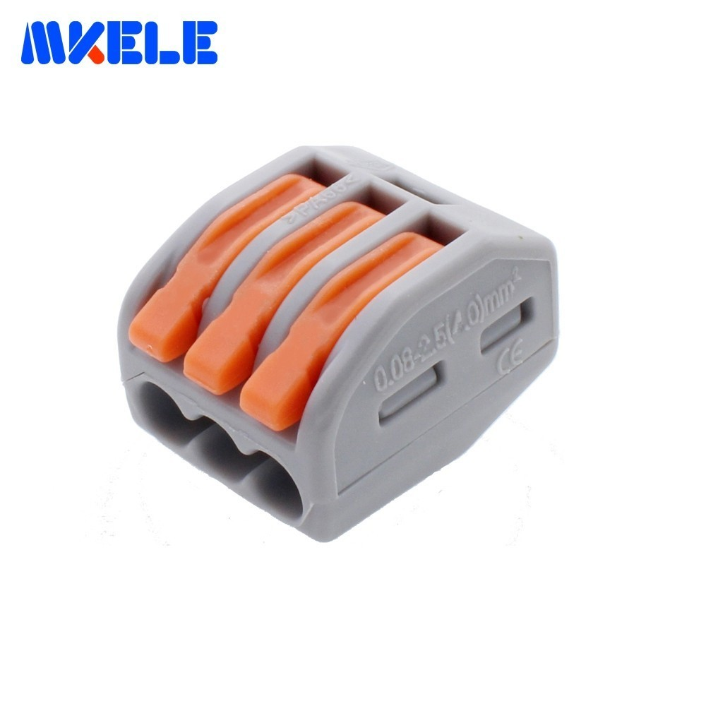 100Pcs PCT-213 3 Pin Wire Connector Universal Compact Wiring Conductor Terminal Block Terminals