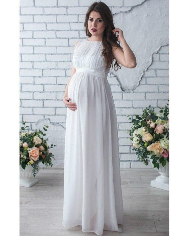 Chiffon Pregnant Long Dress Women Casual Sleeve Evening Party Maxi Maternal pregnancy dresses DS19