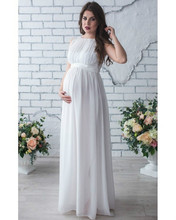 купить Chiffon Pregnant Long Dress Women Casual Long Sleeve Evening Party Long Maxi Maternal pregnancy dresses DS19 по цене 1022.56 рублей