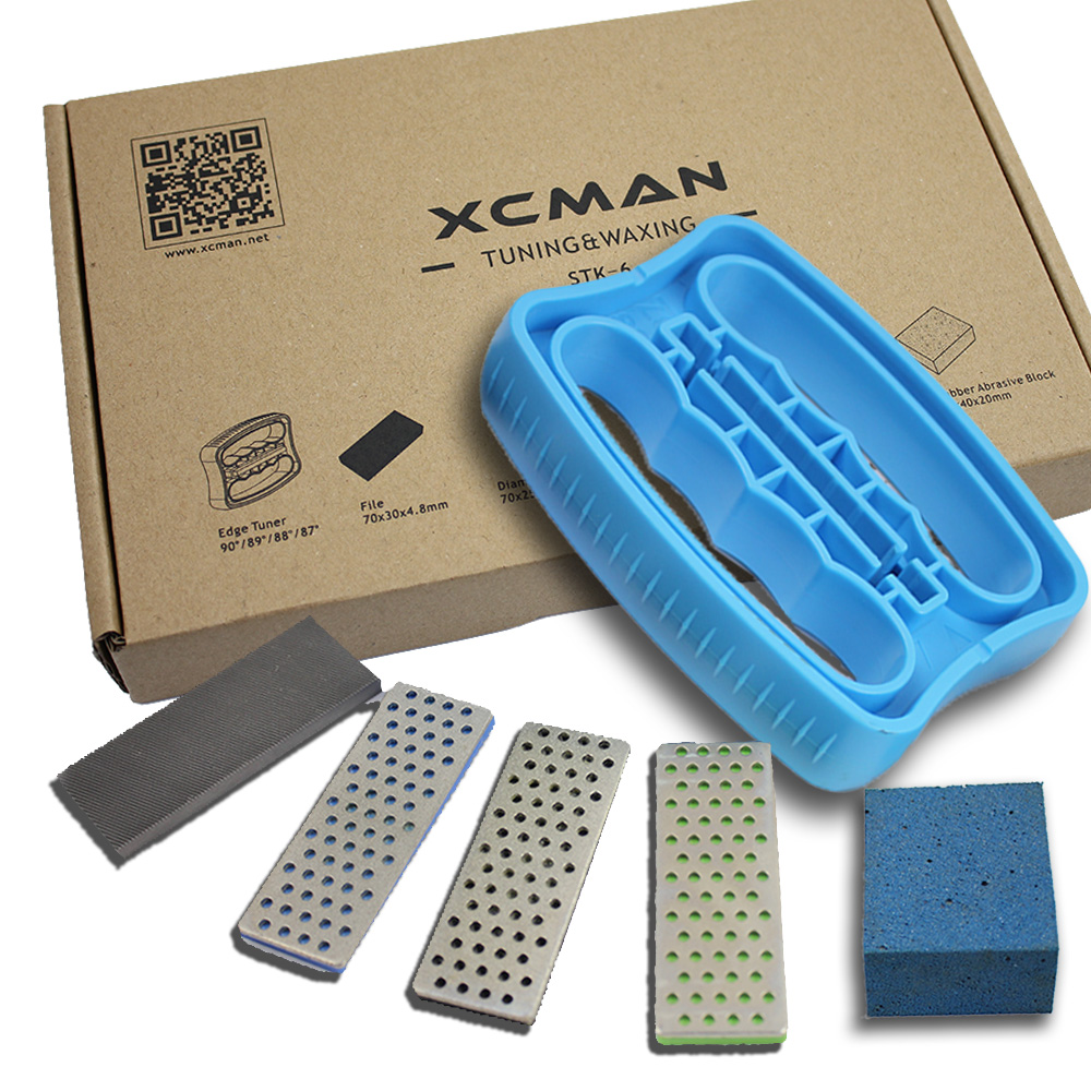 XCMAN Alpine Freeride Snowboard Edge Bevel Tuning Kit Edge Care Kit -Side Ski Angle Tool +3 Diamonds File +Gummi Stone