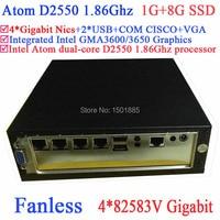 Không quạt Intel Atom dual-Core D2550 1.86 GHz tường lửa Router với 4*82583 V Gigabit LAN Wake on LAN 1g RAM 8g SSD
