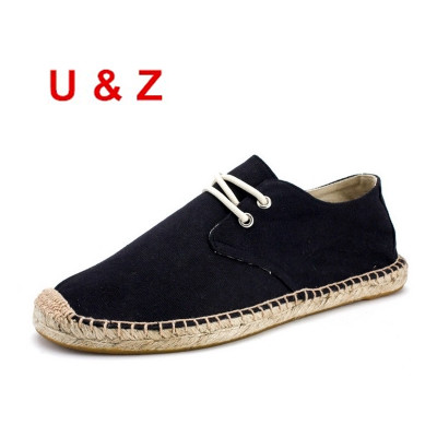 Cool yet breathable handmade Canvas Espadrilles Shoes Men,Brand Lace-up Linen Fashion loafers male light driving shoes Youth 44