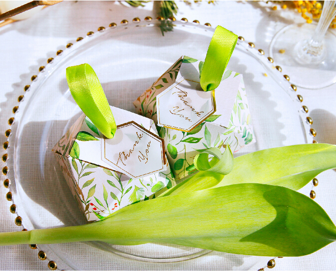 New Diamond Shape Green leaves Forest style Candy Box Wedding Favors And Gift Boxes Party Supplies thanks Gift Chocolate Package (6)