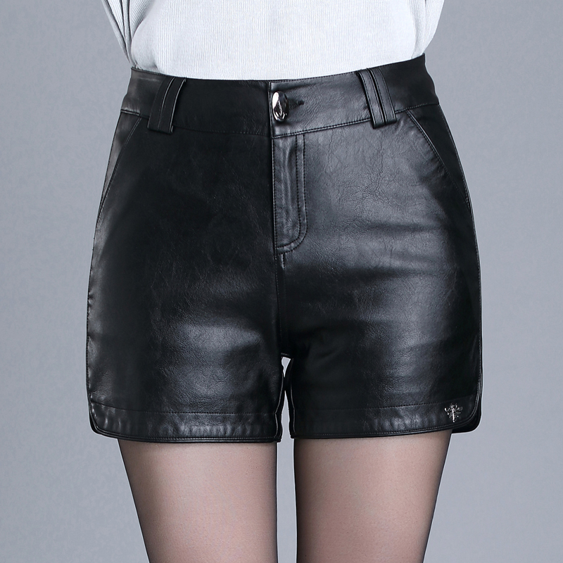 High Waist Shorts 2016 Fall Winter Womens Black Leather -6127